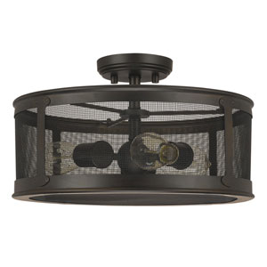 Dylan Old Bronze Three-Light Outdoor Semi-Flush Mount