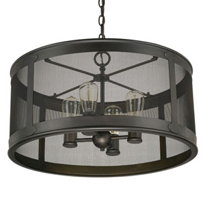 Dylan Old Bronze Four-Light Outdoor Drum Pendant
