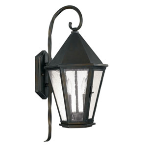Spencer Old Bronze Two-Light Outdoor Wall Lantern with Antique Water Glass