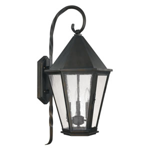 Spencer Old Bronze Three-Light Outdoor Wall Lantern with Antique Water Glass