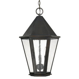 Spencer Old Bronze Three-Light Outdoor Hanging Lantern with Antique Water Glass