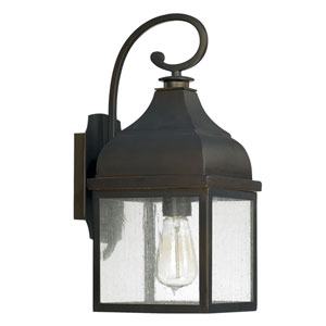 Westridge Old Bronze One-Light Outdoor Wall Lantern with Antique Glass