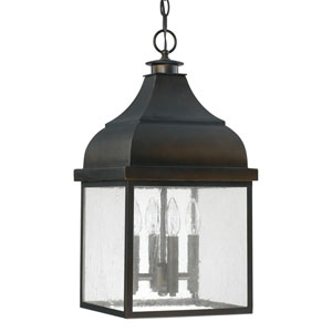 Westridge Old Bronze Four-Light Outdoor Hanging Lantern with Antique Glass
