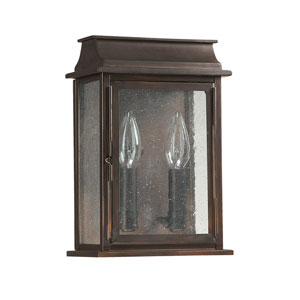 Seven Inch Wide Old Bronze Bolton Two Light Wall Lantern