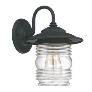 Creekside Black One-Light Wall Lantern with Clear Glass