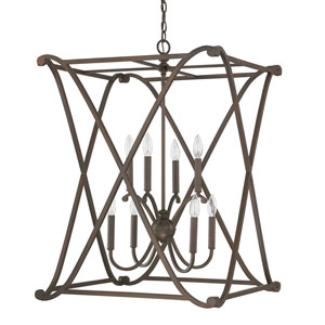 Alexander Burnished Bronze Eight-Light Foyer Fixture