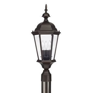 Carriage House Old Bronze Three-Light Post Mount