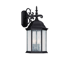 Main Street Black Three-Light Outdoor Wall Light