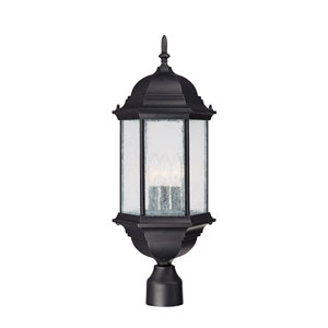 Main Street Black Three-Light Outdoor Post Light