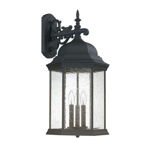Main Street Black Three-Light Wall Lantern