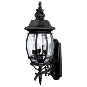French Country Medium Black Outdoor Wall Mount