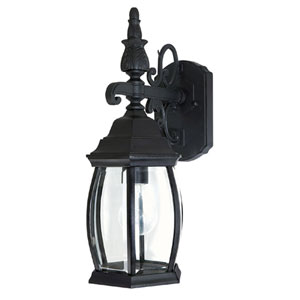 French Country Black One-Light Wall Mount Outdoor Wall Lantern