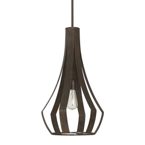 Textured Brown One-Light 14-Inch Pendant