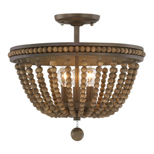 Handley Tobacco with Stained Wood Beads Three-Light 16-Inch Semi-Flush