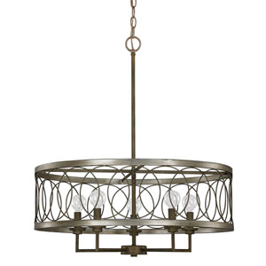 Madeline Brushed Silver and Bronze Five-Light 24.5-Inch Chandelier
