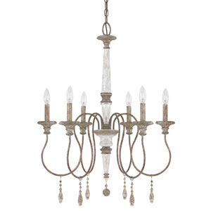 Zoe French Antique Six-Light 25-Inch Chandelier
