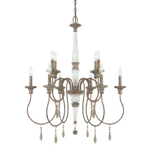 Zoe French Antique Ten-Light 29.5-Inch Chandelier