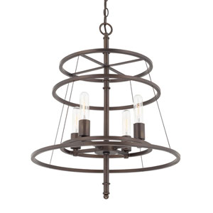 Burnished Bronze Four-Light 20-Inch Chandelier