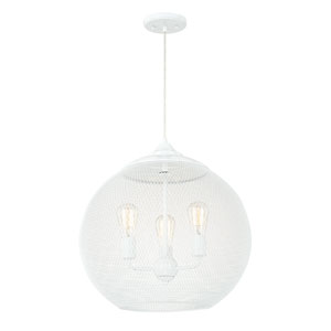 Glossy White Five-Light 18.5-Inch Pendant