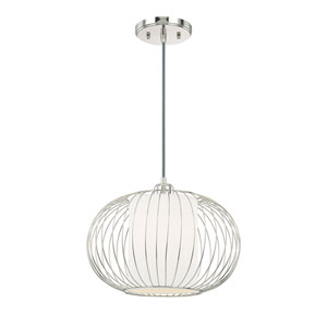 Polished Nickel One-Light 13-Inch Pendant
