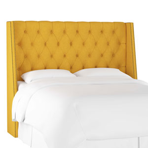 California King Linen French Yellow 78-Inch Nail Button Tufted Wingback Headboard