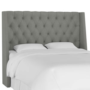 California King Linen Gray 78-Inch Nail Button Tufted Wingback Headboard