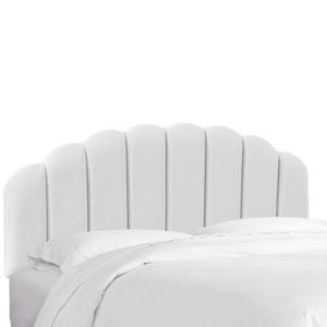 California King Velvet White 75-Inch Shell Headboard