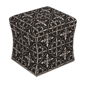Paris Tile Black 19-Inch Button Storage Ottoman