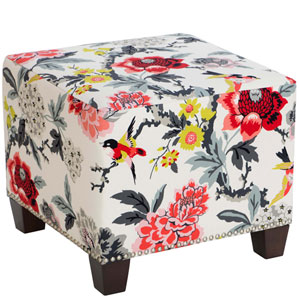 Candid Moment Ebony 19-Inch Nail Button Ottoman