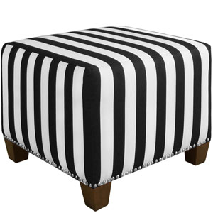 Canopy Stripe Black and white 19-Inch Nail Button Ottoman