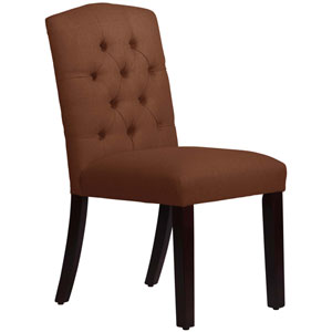 Linen Chocolate 39-Inch Tufted Arched Dining Chair