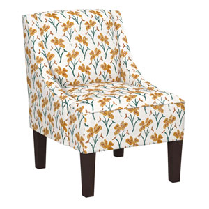 Vanves Floral Ochre Teal 34-Inch Chair