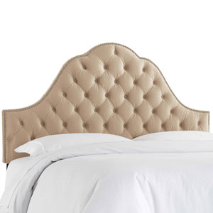 California King Velvet Pearl 74-Inch Nail Button Tufted Arch Headboard