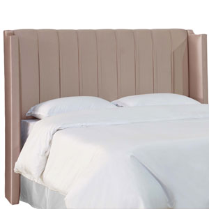 Full Shantung Dove 61-Inch Pleated Wingback Headboard