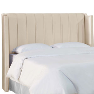 Full Shantung Parchment 61-Inch Pleated Wingback Headboard