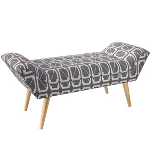 Hunter Lattice Charcoal 51-Inch Modern Welted Bench