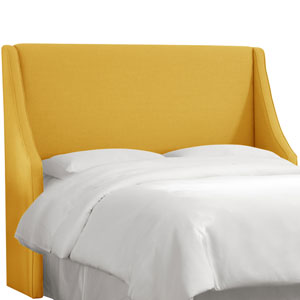 Linen French Yellow Queen Swoop Arm Wingback Headboard