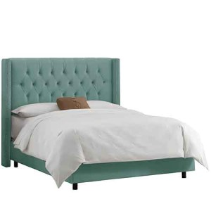 Velvet Caribbean Diamond Tufted Wingback Full Bed