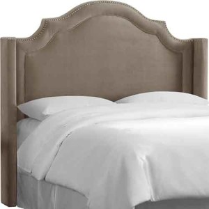 Mystere Mondo Notched Nail Button Wingback Queen Headboard