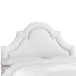 Queen Twill White Arched Border Headboard
