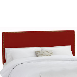 Queen Nail Button Border Headboard in Premier Red