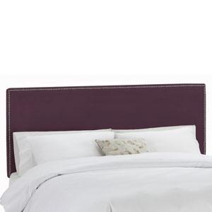 Queen Nail Button Border Headboard in Premier Purple