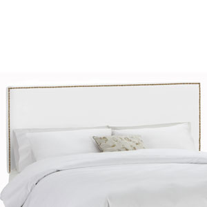 California King Nail Button Border Headboard in Premier White