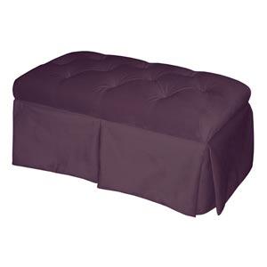 Velvet Aubergine Skirted Storage Bench