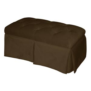 Velvet Chocolate Skirted Storage Bench