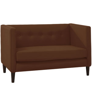 Linen Chocolate Five Button Loveseat