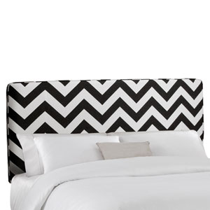 Twin Upholstered Headboard in Zig Zag Black And White