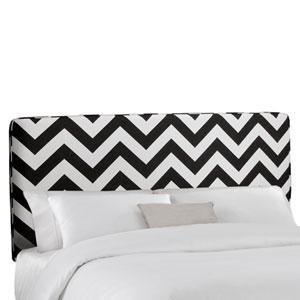 California King Upholstered Headboard in Zig Zag Black And White
