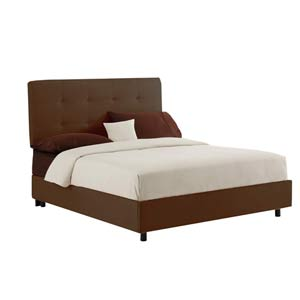 Tufted California King Bed - Premier Chocolate