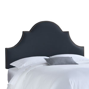 Queen Nail Button High Arch Notched Headboard in Linen Navy